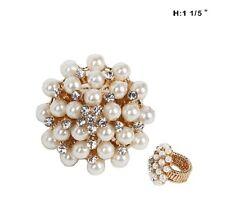 "1 1/5"" Gold Tone Round Cream Pearl and Rhinestone Stretch Ring"