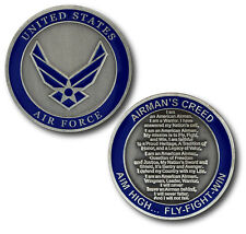 NEW USAF U.S. Air Force The Airman's Creed Aim High Fly Fight Win Challenge Coin