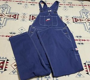 RARE Nike x Supreme Logo Embroidered Navy Twill Men's Overalls XL Blue Denim D0