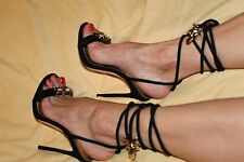 $1140 DSQUARED2 6.5/37 Black Babe Barbed Wire Suede Ankle Tie Stiletto Sandals