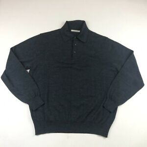 Ermenegildo Zegna Mens Gray Long Sleeve Polo Shirt Large