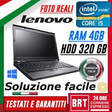 "*PC NOTEBOOK LENOVO THINKPAD X230 12.5"" CPU i5-3320M 4GB RAM HDD 320GB KEY WIN10"