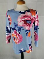 Ladies Top Size 12 JOULES Blue Pink Thick Jersey Smart Casual Day