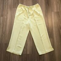 Tommy Bahama Womens Large Relaxed Silk Casual Capri Pants Light Lime Green