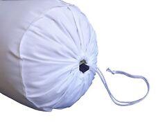 "100% Cotton Plain Chair Decorative Bolster Cover 9"" Diameter White"