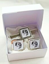 More details for bernese mountain dog cuff links tie clip slide by curiosity crafts