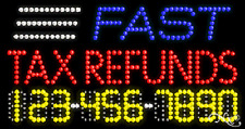 """New """"Fast Tax Refunds"""" 32x17 w/Your Phone Number Solid/Animated Led Sign 25064"""