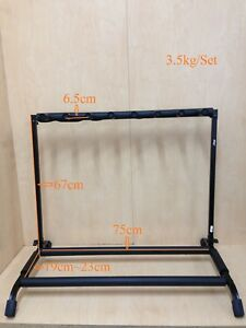 Durable Haze GS014-7 Foldable Metal & Rubber Structure 7-Guitar-Stand/Rack,Black