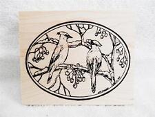 Northwoods rubber stamp Christmas Cedar Waxwings Berries Oval Birds