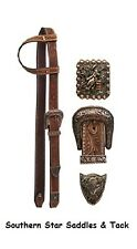 Sliding One Ear Belt Style Headstall BARREL RACER CONCHO and COPPER HARDWARE