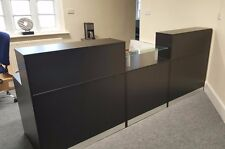 NEW HIGH QUALITY RECEPTION DESK IN BLACK , GLASS UNIT AND 2 RISERS ,2.4M