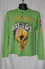 Ed Hardy Mens Small Green Long Sleeve Shirt Bling 1/4 Button Skull Christian A.