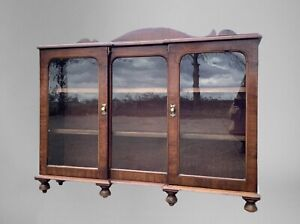 Antique Mahogany Glazed Display China Bookcase Drinks Cabinet Cupboard