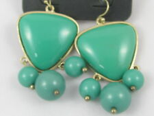 Towne & Reese Jade Green Color Pierced Chunky Statement Dangle Earrings