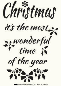 Christmas STENCIL Quote Words Paint Wall Furniture Wood Craft Reusable Gift CH37
