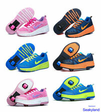Unisex Kids Adult Retractable Single/Dual Wheel Sneakes Boys Girls Roller Shoes