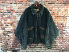 Mens 4XL Denim Sherpa Fleece Lined Le Tigre Jacket Leather Trim Blue Jean Coat