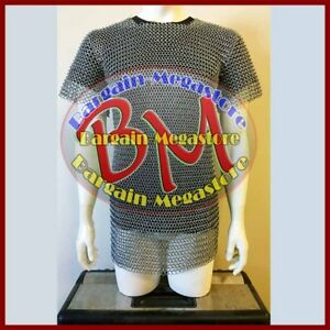 XL Size Butted Aluminium Chainmail Shirt Medieval Chain Mail Haubergeon Costume