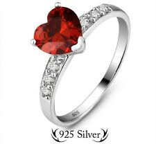 Red Heart C.Z Sterling Sliver 925 Ring Size L (51 1/2)