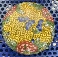 Old Chinese Yellow Ground Gilt Cloisonne Enamel Round Box Flowers Bamboo Design