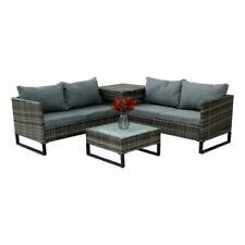 Sets de muebles de jardín grises de mimbre