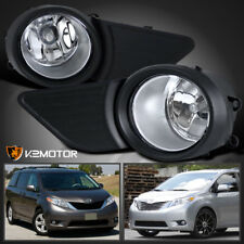 For JDM 11-17 Toyota Sienna Clear Front Bumper Fog Lights Lamps+Switch