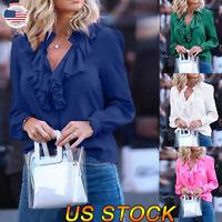 Women Fashion Ruffled V-neck Shirt Collar Long Sleeve Blouse Tops Casual Shirt