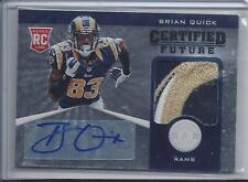 BRIAN QUICK 2012 TOTALLY CERTIFIED FUTURE 3 COLOR RAMS LOGO PATCH AUTO RC #D /49