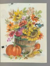 "FLOWERS IN BUCKET w Pumpkins & Bird 4.5x6"" #7909 Thanksgiving Greeting Card Art"