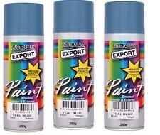 3 x Australian Export Spray Paint Cans 250gm Teal Blue 100% Brand New