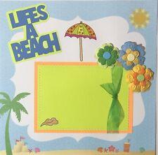 Premade Scrapbook Page 12x12 Life's A Beach Vacation Ocean Sand Shells Sewn-Jenn