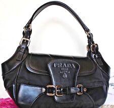 $1298~PRADA~Black Saddle Bag Satchel LEATHER Silver~PURSE Logo Hobo Shouder Rare