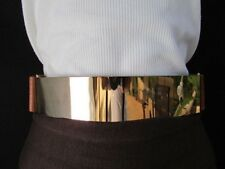 Women Chic Gold Waist Metal Plate Casual Belt Mocha Brown Stretch Size M L XL