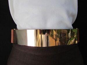 Women Chic Gold Waist Metal Plate Casual Belt Mocha Brown Stretch Size M L XL