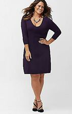 LANE BRYANT PLUS SIZE POINTELLE A-LINE SWEATER DRESS 14/16 PURPLE