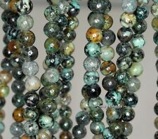 6MM AFRICAN TURQUOISE GEMSTONE GREEN BROWN ROUND 6MM LOOSE BEADS 16""