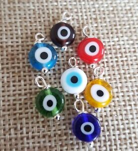Round Lucite Evil Eye Charm Pendant Protection Good Luck Choose Color 7 Choices