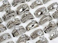 5PCS/Lot Women Silver Stainless Steel Ring Wholesale Bulk Lots Crystal Jewelry