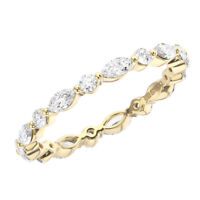 2mm Prong Set Round & Marquise Cut Diamond Full Eternity Ring in 9K Yellow Gold