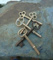 Five  Antique Bronze Mortise Lock Sleleton Keys  Antique Door Keys