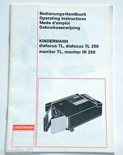 Originale Bedienungsanleitung f.Projektor Kindermann diafocus,TL 250,monitor,-IR