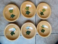 6 Vintage Munising Woodenware 6 inch Bowls Hand Painted Leaves, good condition