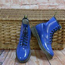 Dr Martens AirWair patente Azul Botas De Combate De Cuero UK 5-UE 38