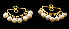 AUTHENTIC 22K 22CT YELLOW GOLD HANGING PEARLS DESIGN STUD EARRING COVER