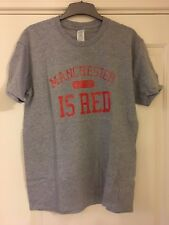 Manchester United Man Utd Football T-Shirt Manchester is Red - Large - Grey