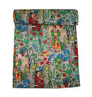 Frida Kahlo Kantha Indian Handmade Bedspread Bed Cover Beige Reversible Quilt