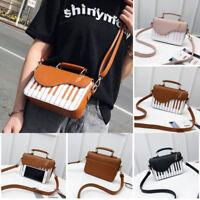 Women Girls Piano Pattern Pu Leather Handbag note Messenger Girls Shoulder Bags