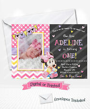 PRINTED Baby Minnie Mouse 1st Birthday Invitations Pink Minnie Party Invitations