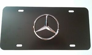Black For Mercedes Benz Stainless Steel License Plate Tag Cover w/ Bolt Caps