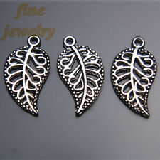 50Pcs 18mm Charms Flower Leaf Pendant Tibet Silver DIY Jewelry Beads Spacer 7216